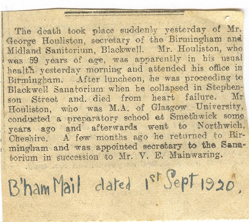 Birmingham Mail death of George Houliston 1 Sep 1920